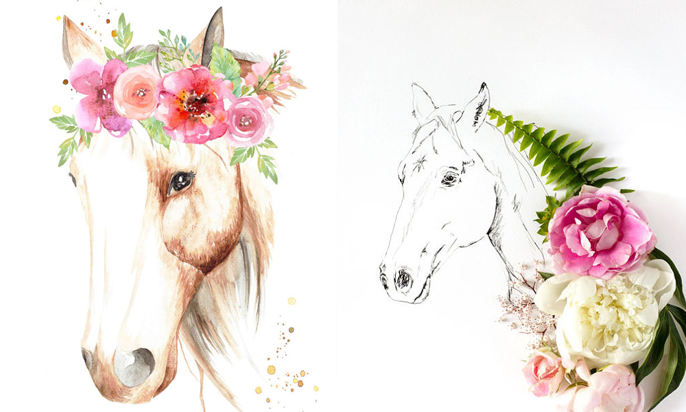 Horse clip art watercolor. Flowers horses artwork cowgirl