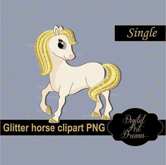 Horse clipart glitter. Gold pony graphics cute