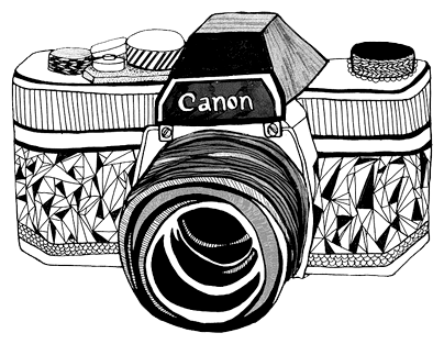 Camera line transparent png. Canon drawing technical image black and white stock