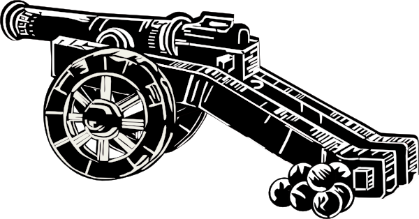 horse drawn cannon black and white png