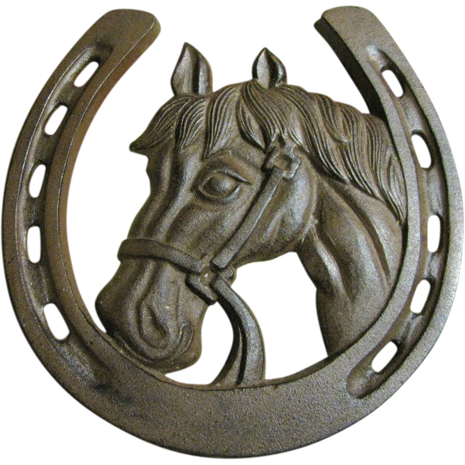 Horse shoe on horse png. Large lucky cast iron