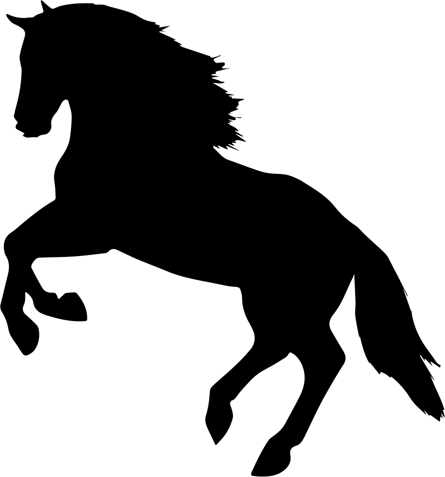 Horse silhouette png. Jumping facing left side
