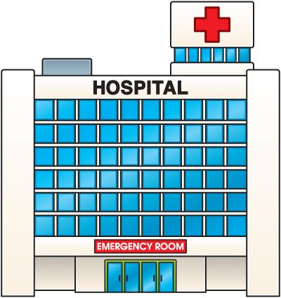 Hospital clipart places. Building pencil and in