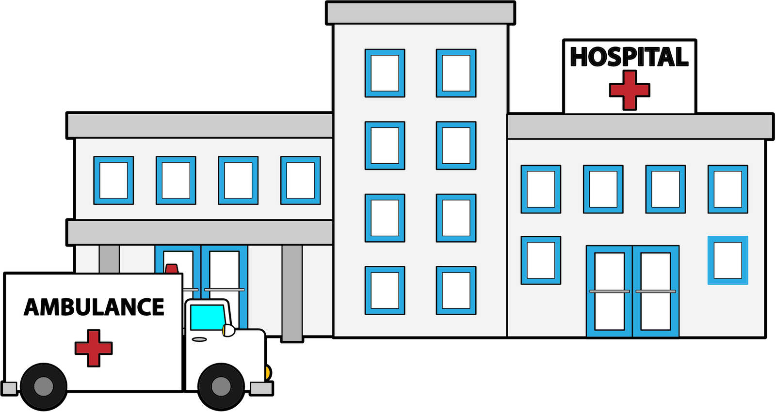 Hospital transparent. Collection of clipart