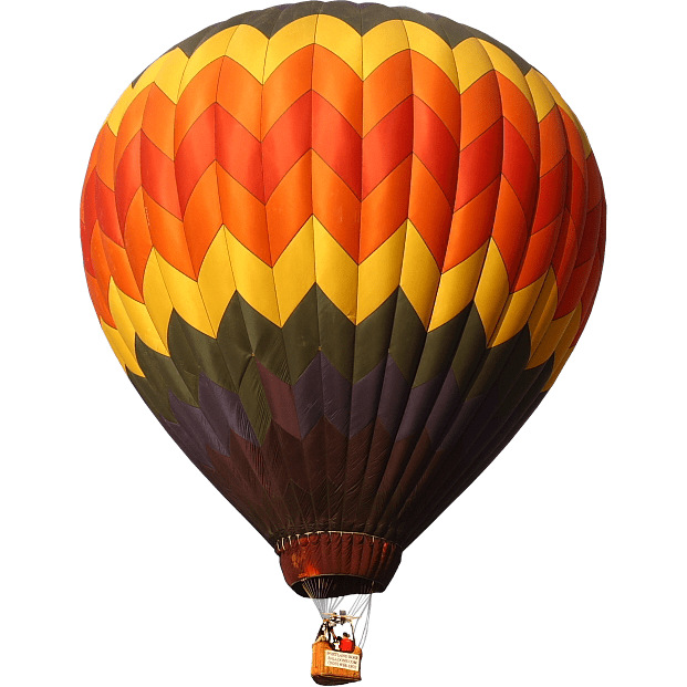 Hot air balloon png. Red yellow green transparent