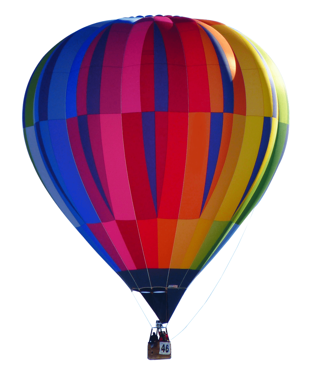 Hot air balloon png transparent background. Colourful stickpng