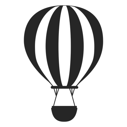Hot air balloon silhouette png. Black and white transparent