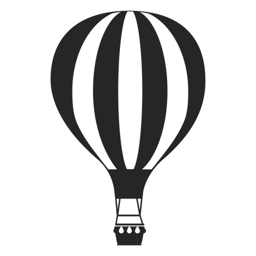 Hot air balloon silhouette png. Line patterned transparent svg