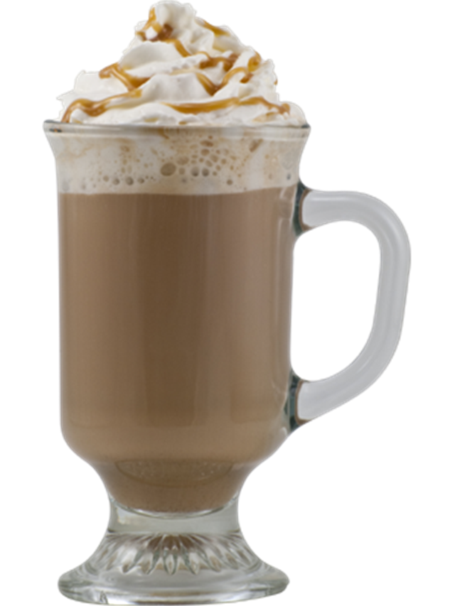 Salted caramel cocoa recipe. Hot chocolate png image black and white stock