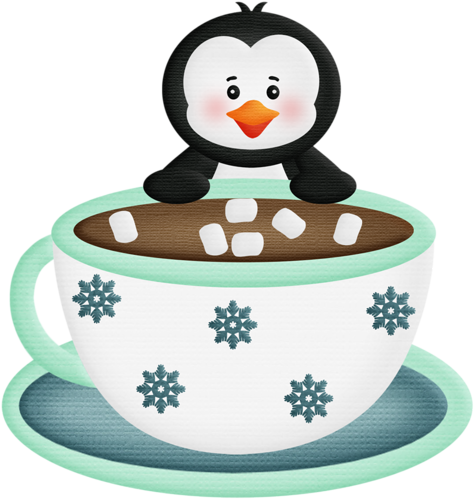 Coffee clipart hot chocolate. Penguin with and clipartcoffee