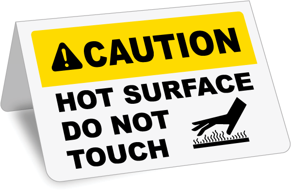 Hot vector surface. Caution tent sign j