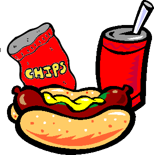 Juice clipart chip. Hot dogs and chips