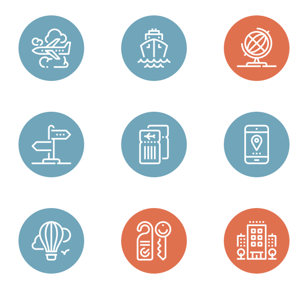 Plane svg emoticon. Hotel icons free vector