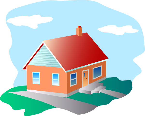 House cartoon png. With blue sky clip