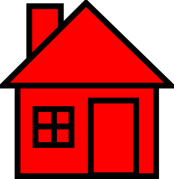 House clipart. Red black clip art