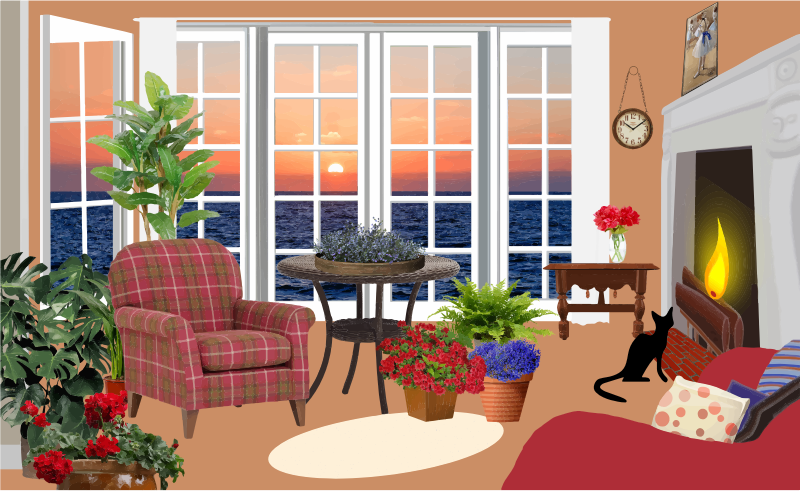 Room clipart sitting room. Fictional living with an