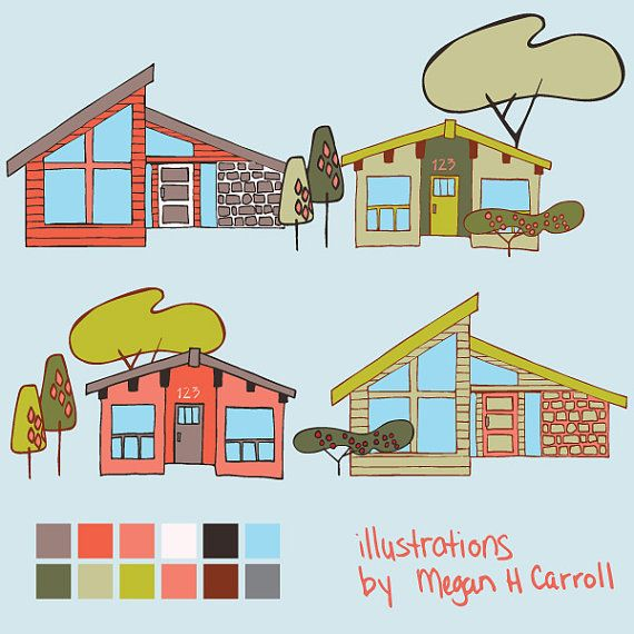 House clipart mid century, Picture #84199 house clipart mid ...