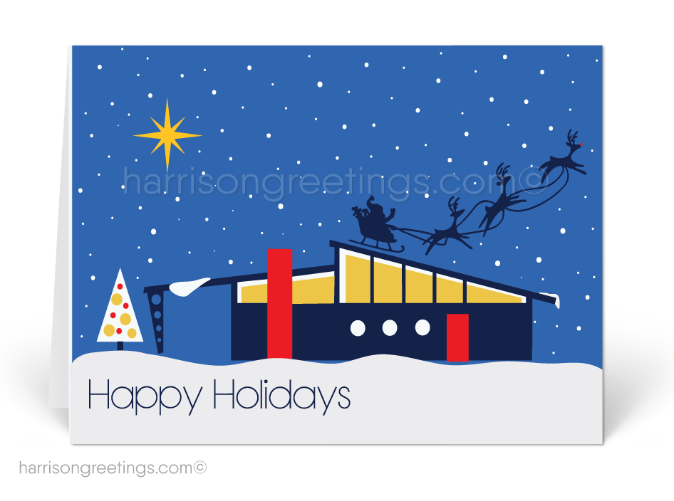 House clipart mid century. Modern retro holiday cards