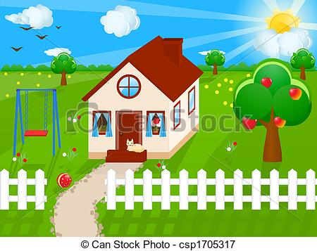 Yard clipart. Country house illustration of jpg stock