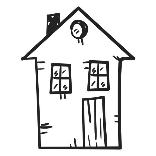 Cottage vector hand drawn. Two storey house drawing