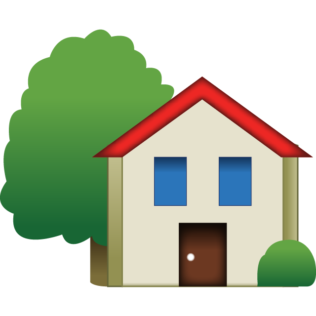 Home transparent tree. Download house emoji with