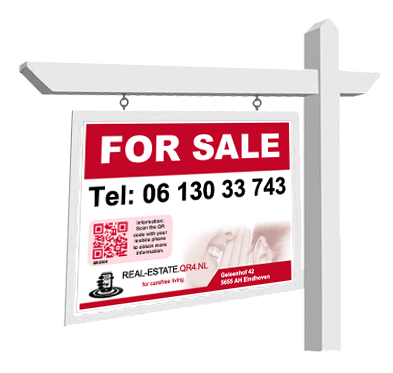 House for sale sign png. Sold using qr codes