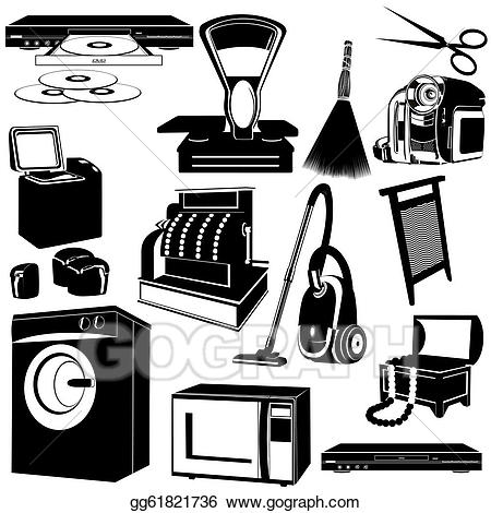 Household Appliances. Vector stock clipart illustration