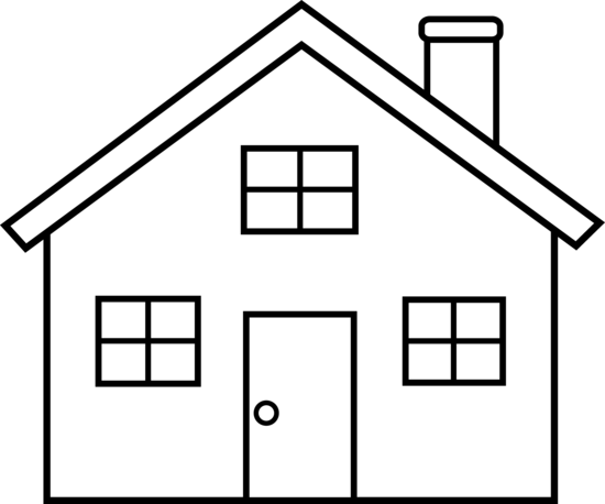 Houses clipart black and white. House outline panda free
