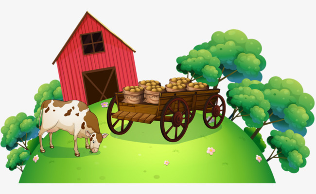 Houses clipart cow. Green farm house pull