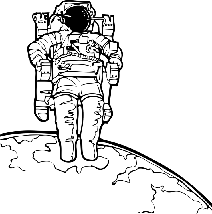 Houston drawing astronaut. Outer space coloring book
