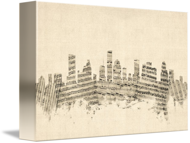 Houston drawing city. Texas skyline sheet music