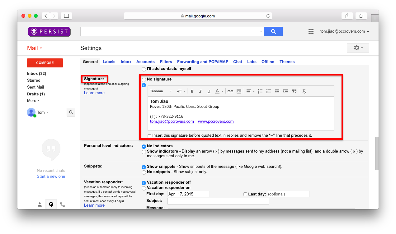 How to add png to gmail signature. Do i setup my