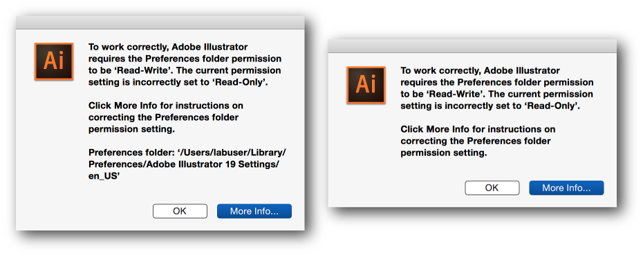 How to change color of png in illustrator. Preferences folder read only