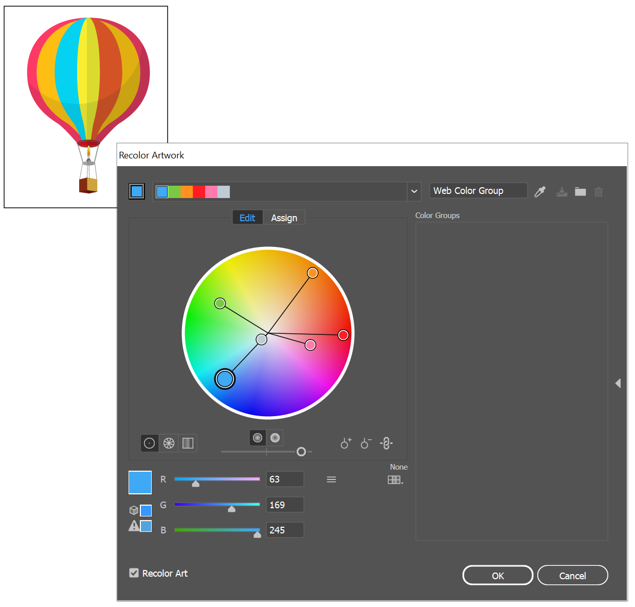 How to change the color of a png file in illustrator. Work with groups harmonies