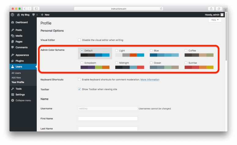 How to change the color of a png in preview. Wordpress admin scheme weldwp