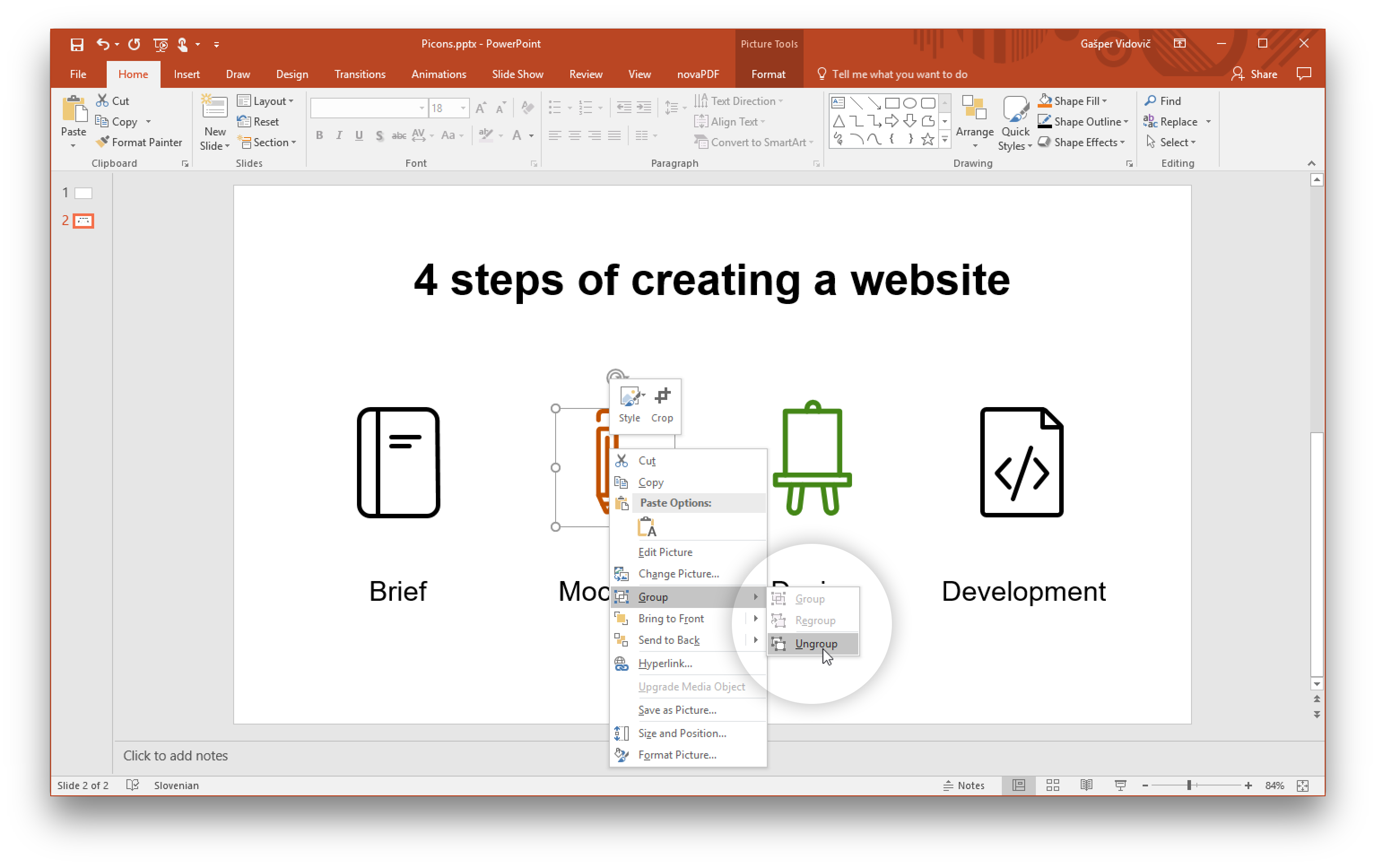 Steps vector presentation. Using icons in powerpoint