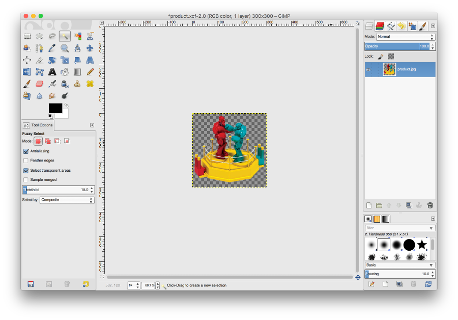 Gimp create png transparent background. Strip the from an