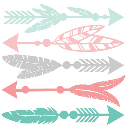 Art svg arrow design. Feather set scrapbook cut