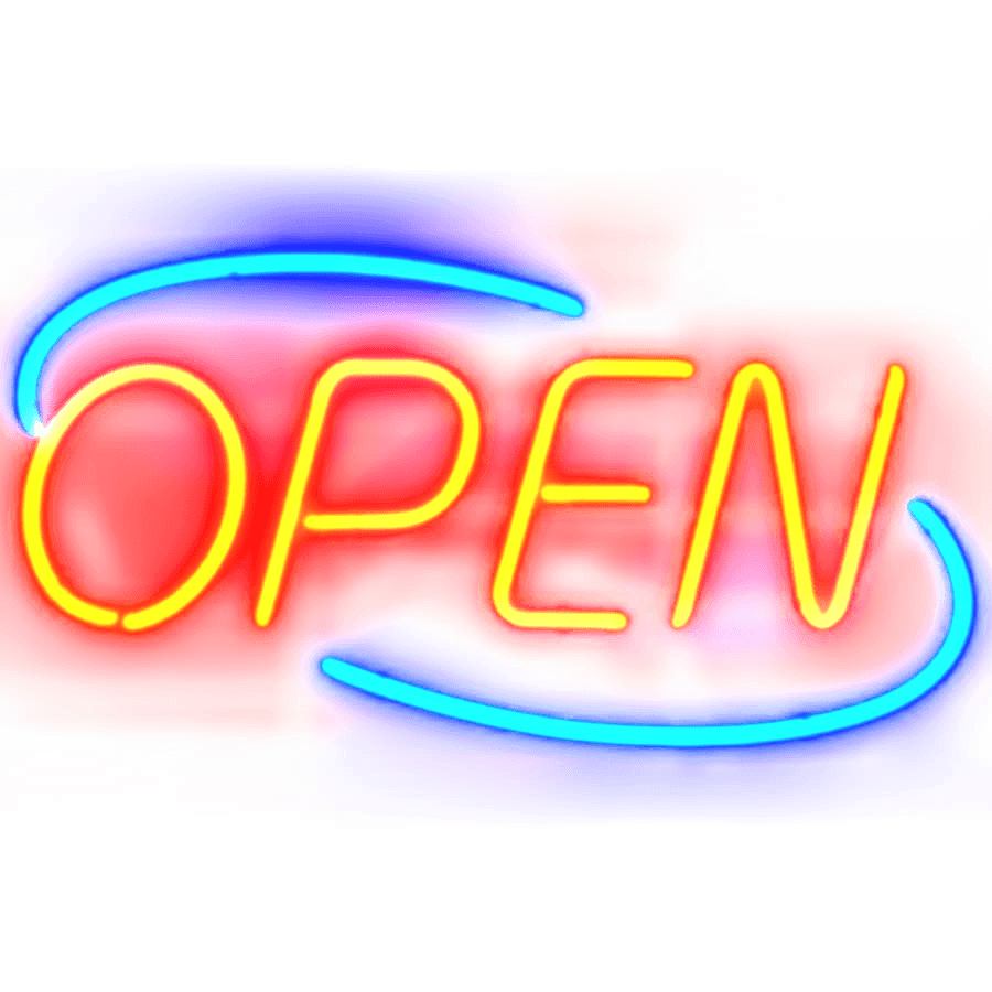 Open sign transparent stickpng. Neon lights png svg freeuse stock
