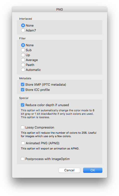 Png options compression interlaced. Download minimum file size
