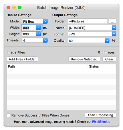 How to shrink a png file on mac. Osx image resizer iron