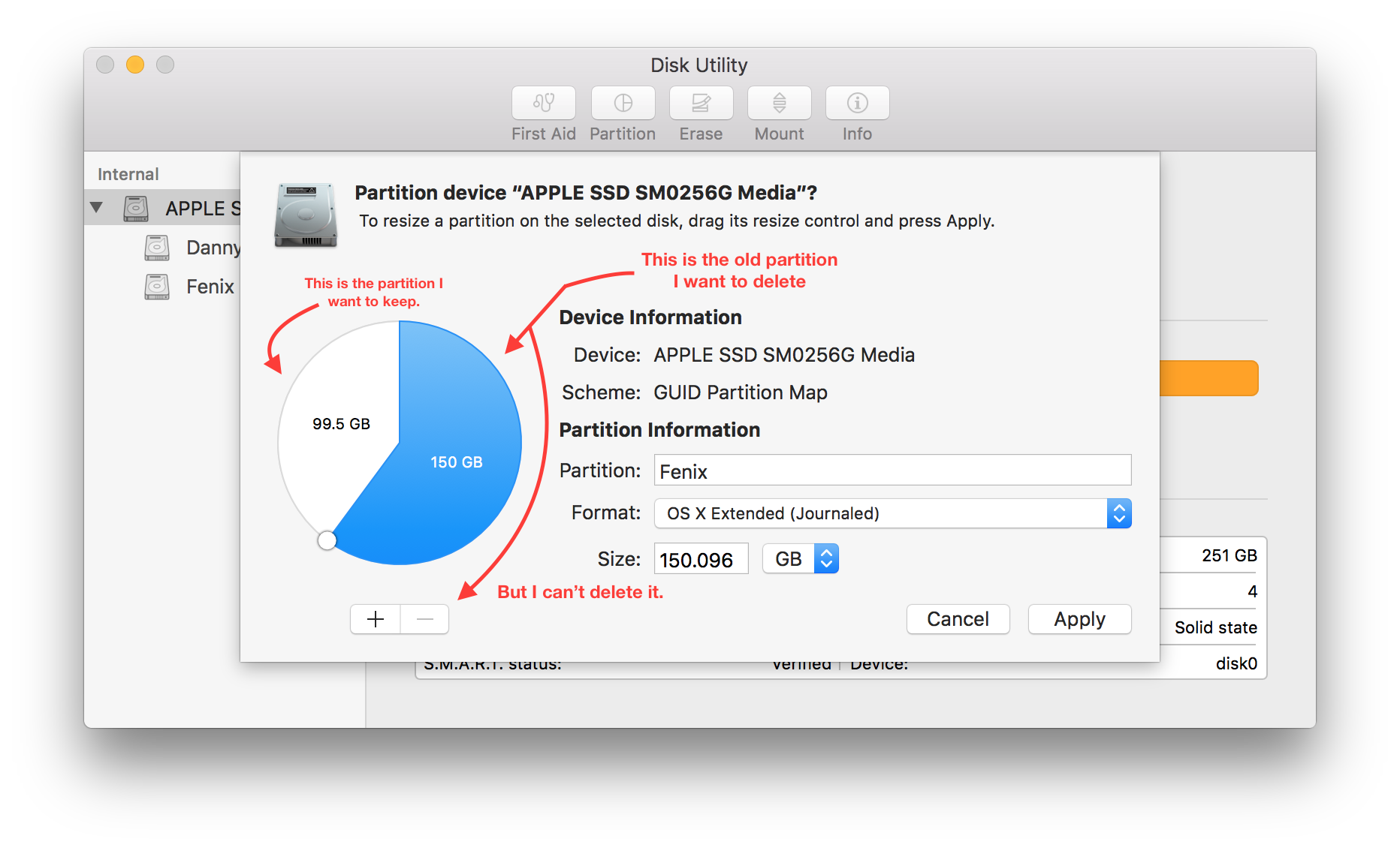 How to shrink a png file on mac. Can t delete partition