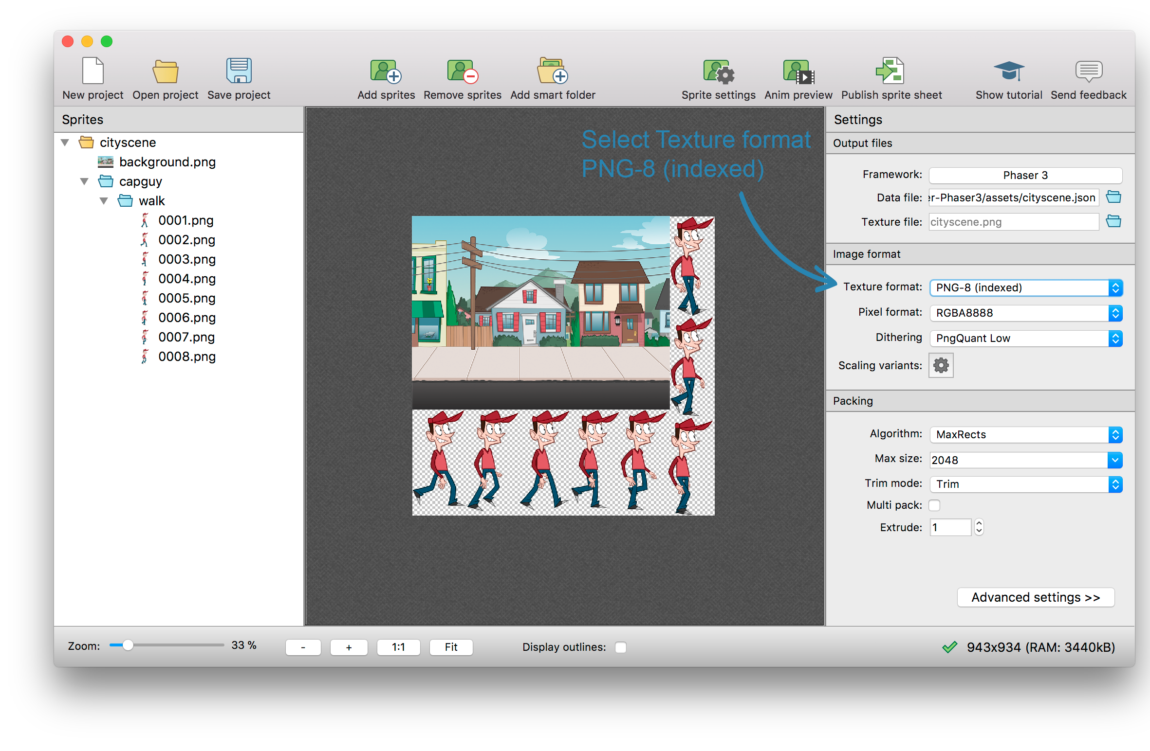 How to turn a png into a sprite. Create sheets for phaser