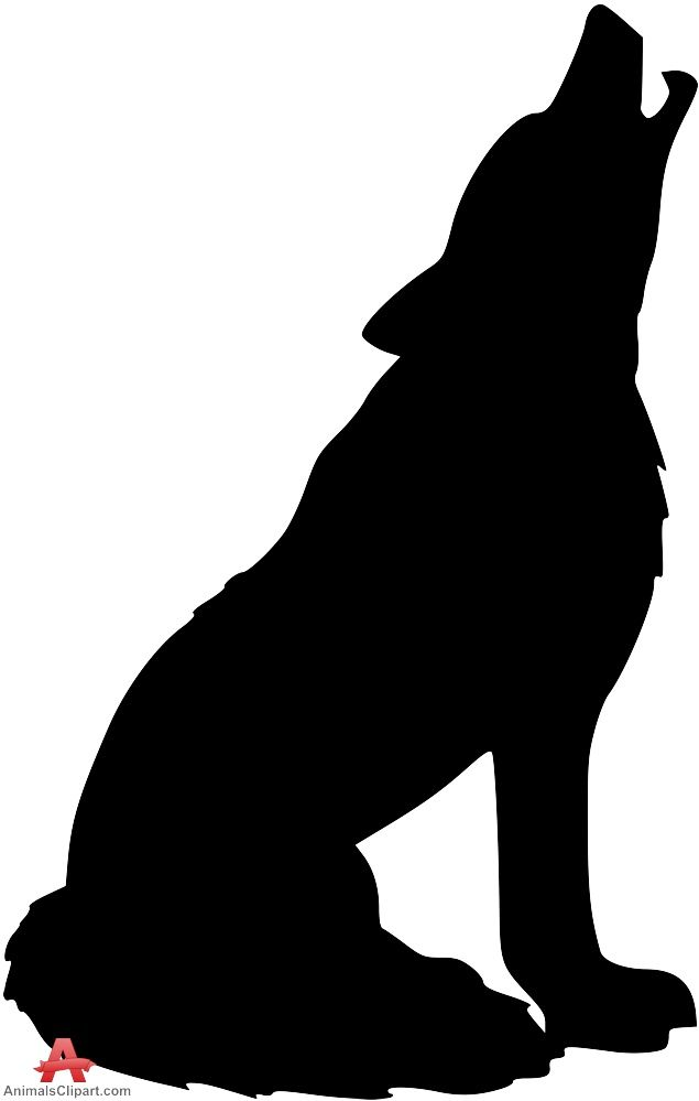 Silhouette clipart. Howling wolf free design
