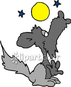 Howling clipart cartoon. Wolf at the moon