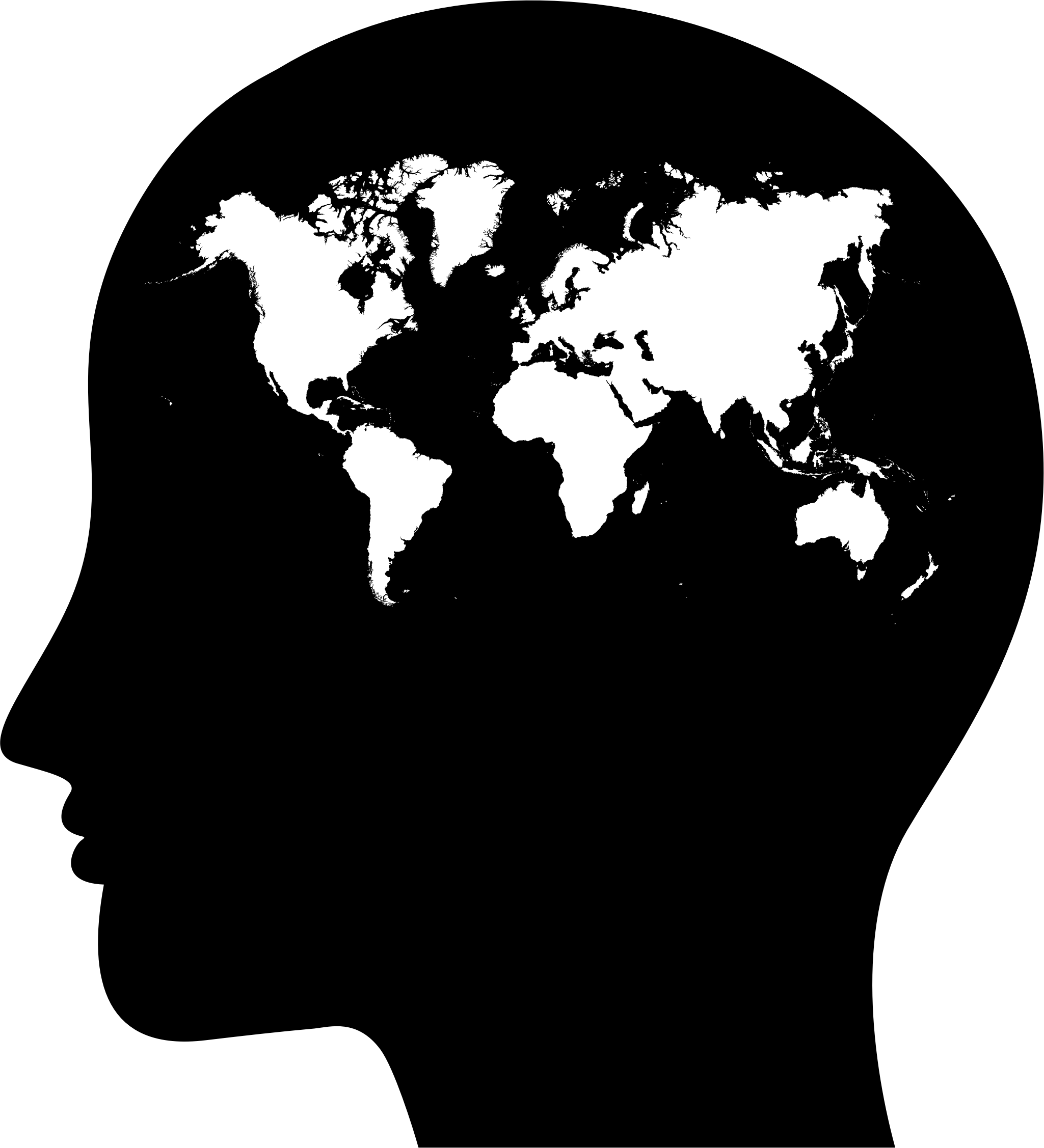 Human head silhouette png. Female profile world map