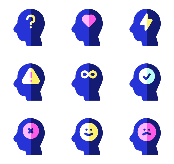Vector human colorful. Thinking icons free mind