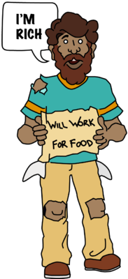 Beggar drawing poor person. Hungry guy clipart png