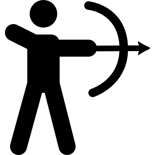 Hunter vector man hunting. With bow and arrow