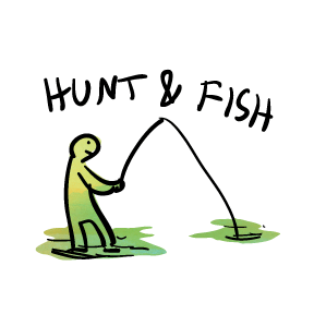 Hunter vector man hunting. Hunt fish get your